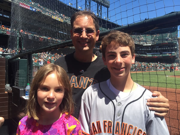 Vittorio with fans at giants game